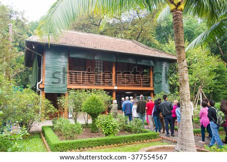 Unidentified visitors of Ho Chi Minh residence in a stilt house on Jan 17, 2016 in Hanoi, Vietnam. Ho Chi Minh president lived here from 1958 until his death.