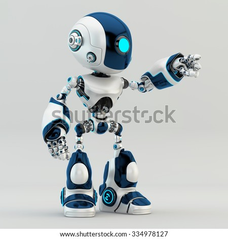 Unique robot character robot pointing