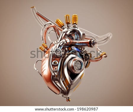 Unique robotic internal organ - steel heart with info screen / Heart Protocol Systems