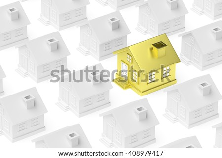 Uniqueness, individuality, real estate business creative concept - golden unique house standing out from crowd of gray ordinary houses, 3d illustration