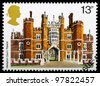 UNITED KINGDOM - CIRCA 1978 : A British Used Postage Stamp showing Hampton Court Palace, circa 1978 - stock photo