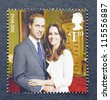 UNITED KINGDOM - CIRCA 2011: A postage stamp printed in United Kingdom showing an image of Prince William and Kate Middleton, circa 2011. - stock photo