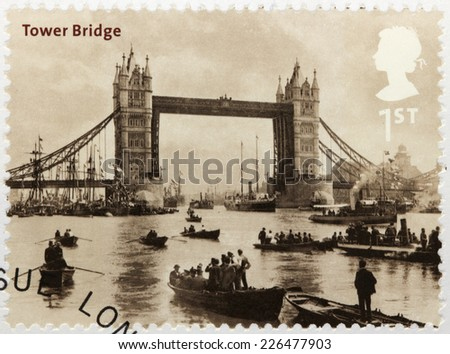 UNITED KINGDOM - CIRCA 2002: A stamp printed by GREAT BRITAIN shows ancient view of Tower Bridge (City of London to Bermondsey), circa 2002