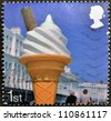 UNITED KINGDOM - CIRCA 2007: A stamp printed in Great Britain dedicated to Beside the Seaside, shows 99 Ice Cream Cone, circa 2007 - stock photo