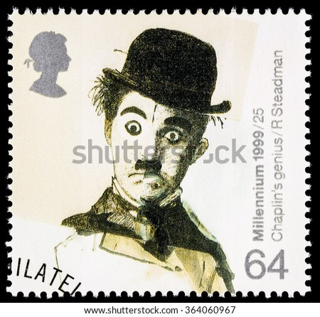 UNITED KINGDOM - CIRCA 1999: A used postage stamp printed in Britain celebrating Entertainers showing the Famous Film Star Charlie Chaplin