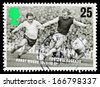 UNITED KINGDOM - CIRCA 1996: A used postage stamp printed in Britain celebrating Football Legends showing Bobby Moore, circa 1996 - stock photo