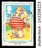 UNITED KINGDOM - CIRCA 1994: A used postage stamp printed in Britain celebrating the Centenary of Picture Postcards, showing a Seaside Pictorial Postcard, circa 1994 - stock photo