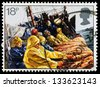 UNITED KINGDOM - CIRCA 1981: A used postage stamp printed in Britain celebrating the Fishing Industry showing aTrawl Net being Hauled, circa 1981 - stock photo