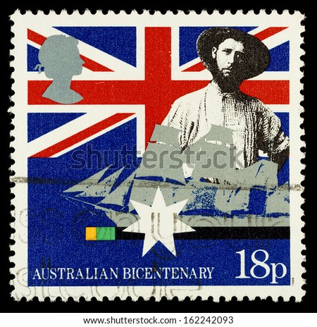UNITED KINGDOM - CIRCA 1988: Used postage stamp printed in Britain celebrating the Bicentenary of Australian Settlement showing Early Settler and Sailing Clipper, circa 1988