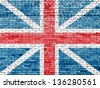 United Kingdom flag on old brick wall - stock photo