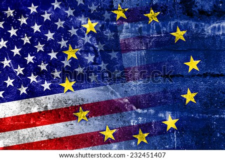 United States and European Union Flag painted on grunge wall
