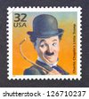 UNITED STATES � CIRCA 1998: a postage stamp printed in USA showing an image of Charles Chaplin, circa 1998. - stock photo