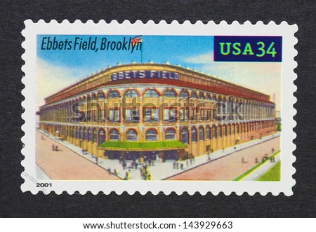 UNITED STATES - CIRCA 2000: a postage stamp printed in USA showing an image of Ebbets Field in Brooklyn, circa 2000.