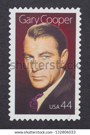 UNITED STATES - CIRCA 2009: a postage stamp printed in USA showing an image of Gary Cooper, circa 2009.