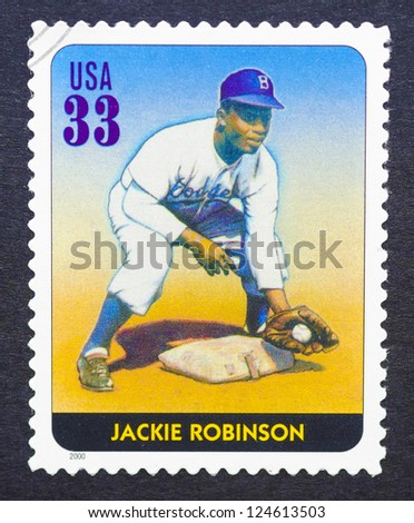 UNITED STATES - CIRCA 2000: a postage stamp printed in USA showing an image of Jackie Robinson, circa 2000.