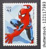 UNITED STATES - CIRCA 2007: a postage stamp printed in USA showing an image of Spider-man, circa 2007. - stock photo