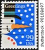 UNITED STATES - CIRCA 2002: A stamp printed by United states, shows snowman, circa 2002 - stock photo