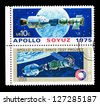 UNITED STATES - CIRCA 1975: Postcard printed in the UNITED STATES shows experimental flight of the ships Souz Apollo , circa 1975 - stock photo