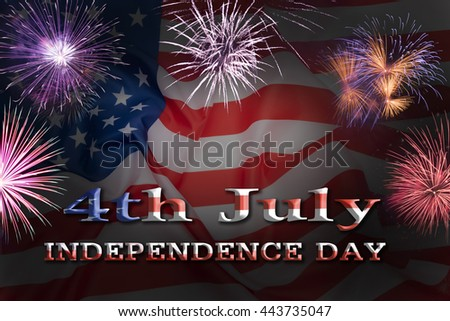 United States flag. Fireworks background for USA Independence Day. Fourth of July celebrate.