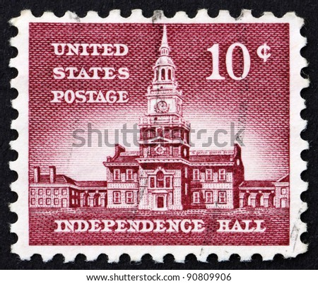 UNITED STATES OF AMERICA - CIRCA 1954: a stamp printed in the United States of America shows Independence Hall in Philadelphia, circa 1954