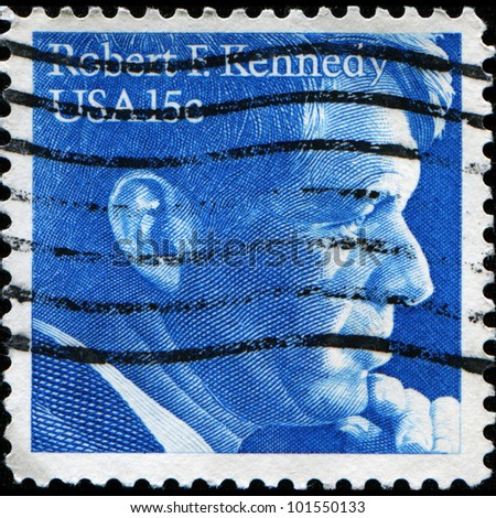 UNITED STATES OF AMERICA - CIRCA 1979: a stamp printed in the United States of America shows Robert Fitzgerald Kennedy U.S. Attorney General, circa 1979