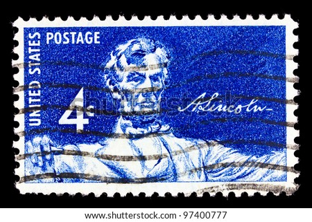 UNITED STATES OF AMERICA - CIRCA 1958: A stamp printed in the USA shows Statue of a seated Lincoln by Daniel Chester French, circa 1958