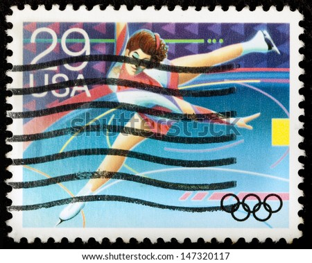 UNITED STATES OF AMERICA - CIRCA 1992: A stamp printed in USA dedicated to Winter Olympics, shows figure skating, circa 1992