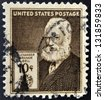UNITED STATES OF AMERICA - CIRCA 1940: A stamp printed in USA shows Alexander Graham Bell, circa 1940 - stock photo