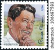 UNITED STATES OF AMERICA - CIRCA 2011: A stamp printed in USA shows image of President Ronald Reagan,  circa 2011 - stock photo