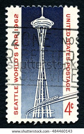 UNITED STATES OF AMERICA - CIRCA 1962: A used postage stamp from the USA celebrating the Seattle Worlds Fair, circa 1962.