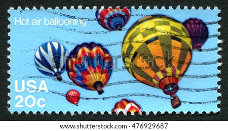 UNITED STATES OF AMERICA - CIRCA 1983: A used postage stamp from the USA depicting an illustration of multicoloured Hot Air Balloons, circa 1983.