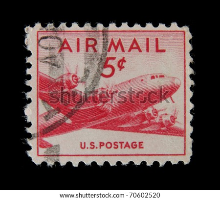UNITED STATES OF AMERICA - CIRCA 1950s: A stamp printed in the USA shows airplane, circa 1950s