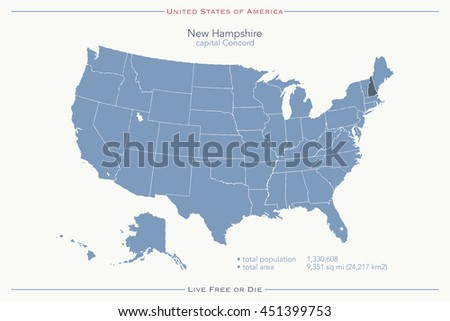 United States Of America Isolated Map And New Hampshire State Territory Usa Political Map Ilration