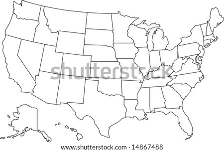 United States America Map Vector Design Stock Vector - United states of america map