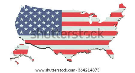 United States America Map Flag Vector Stock Vector - Us map all white red background