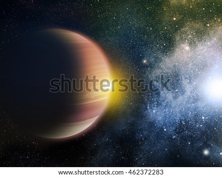 Universe filled with stars, nebula and planet