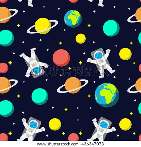 Seamless space pattern planets rockets stars stock vector for Outer space pattern