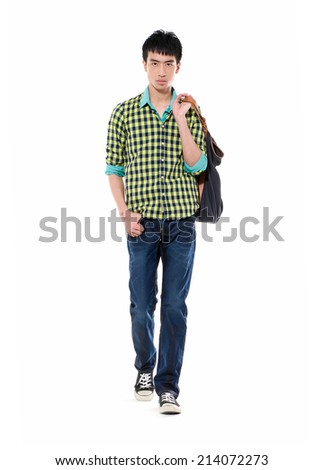 University student carrying a bag-full body