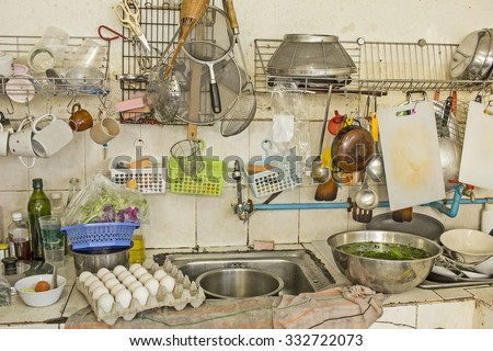 dirty sink filled dishes messy household stock photo 476128117 shutterstock. Black Bedroom Furniture Sets. Home Design Ideas