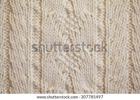White Knitted Carpet Closeup Textile Texture Stock Photo