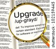 Upgrade Definition Magnifier Shows Software Update Or Installation Fix - stock photo