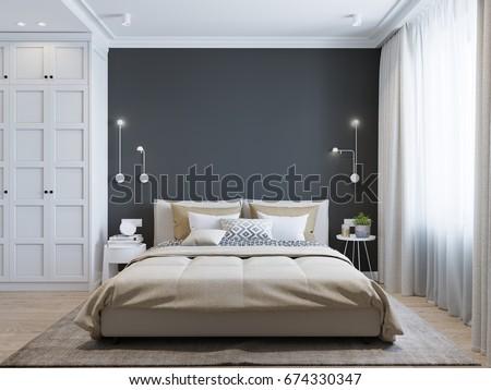 Mock White Wall Bedroom Interior Scandinavian Stock