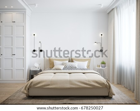 urban modern bedroom interior design mock up gray and white wall 3d