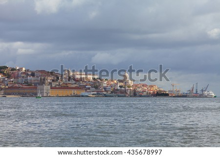 Urban landscape of Lisbon. Portugal. View from the river.