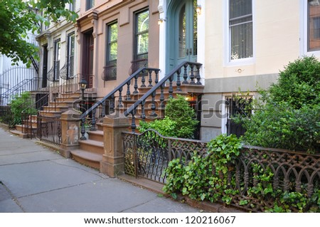 Urban Residential Neighborhood Brownstone Homes with Urban Plant Garden