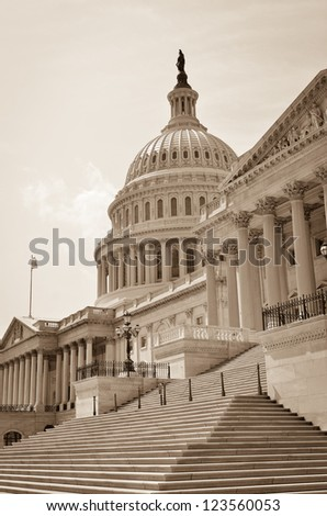 US Capitol Hill east facade in sepia - Washington DC, United States