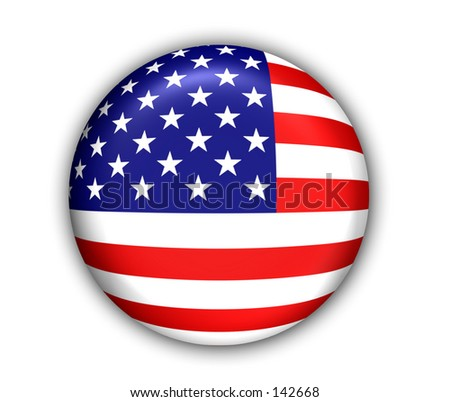 US Flag Button - White