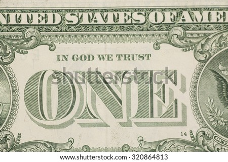 US one dollar bill closeup macro, 1 usd banknote