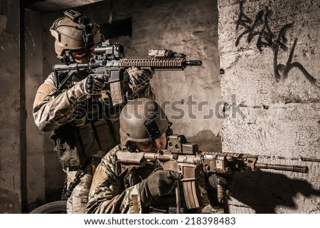 US soldiers in urban area
