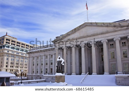 US Treasury Albert Gallatin Statue After Snowstorm Winter Washington DC